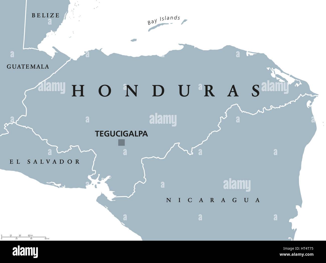 Honduras political map with capital Tegucigalpa national borders