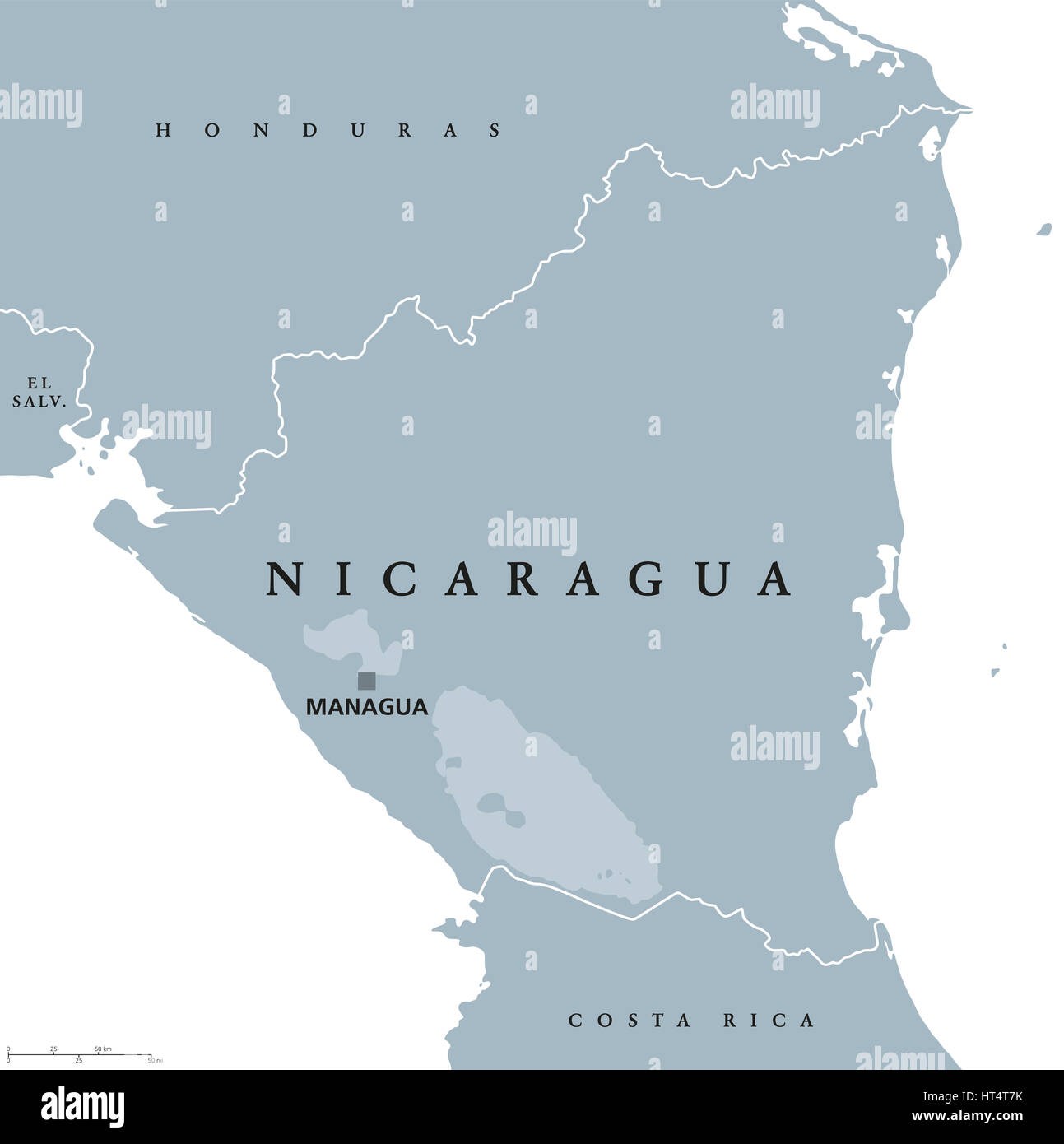 Nicaragua political map with capital Managua national borders and