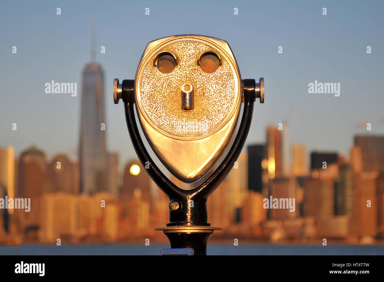 Binocular on Ellis Island in New York USA - Stock Image