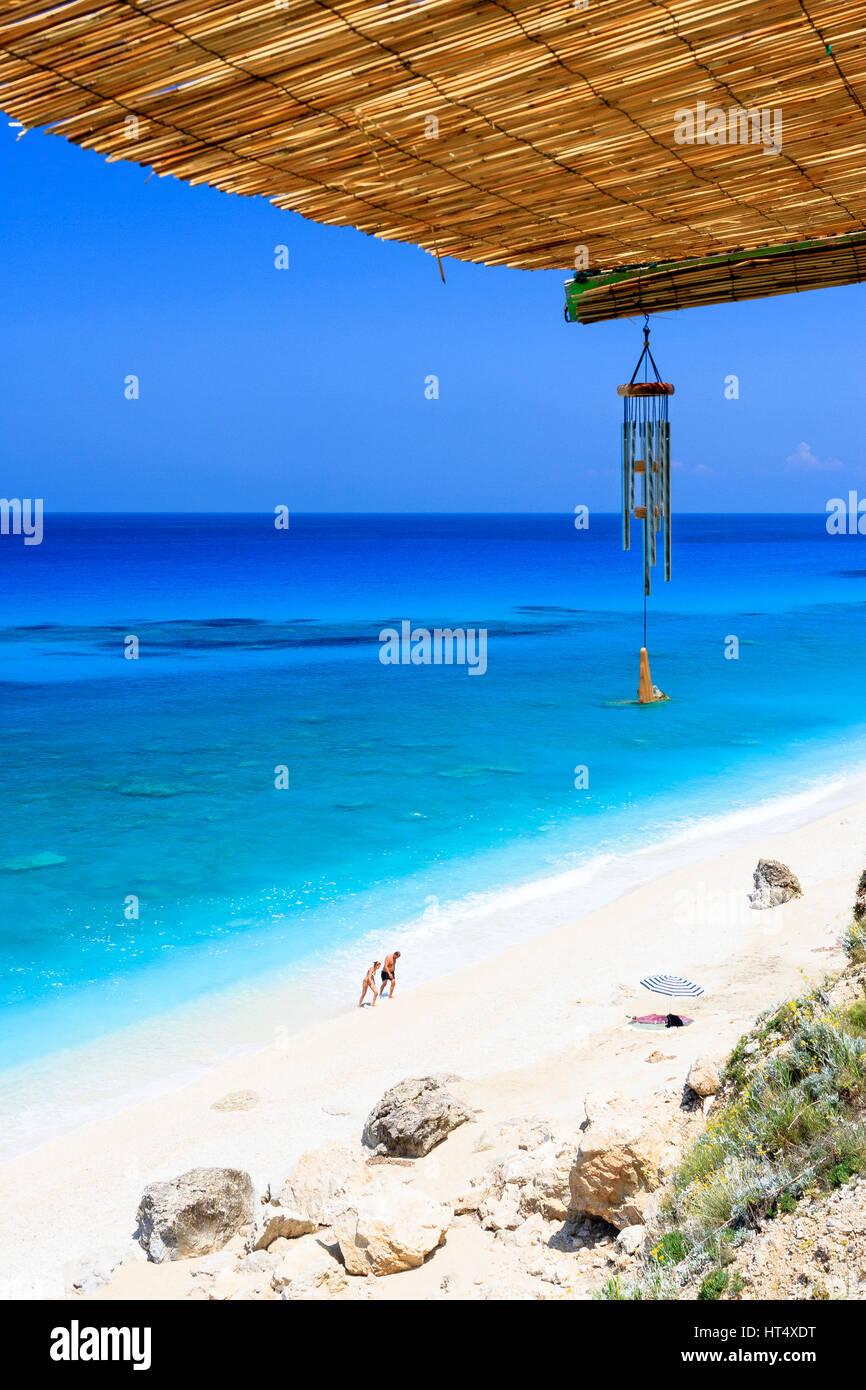 West coast beach bar, Lefkas, Greece - Stock Image