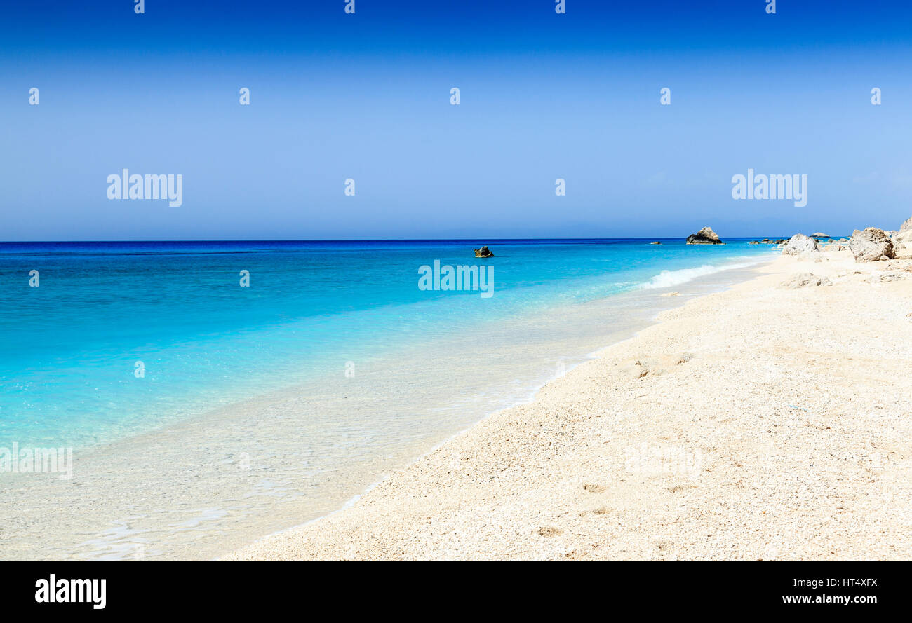 Empty west coach beach, Lefkas, Greece - Stock Image