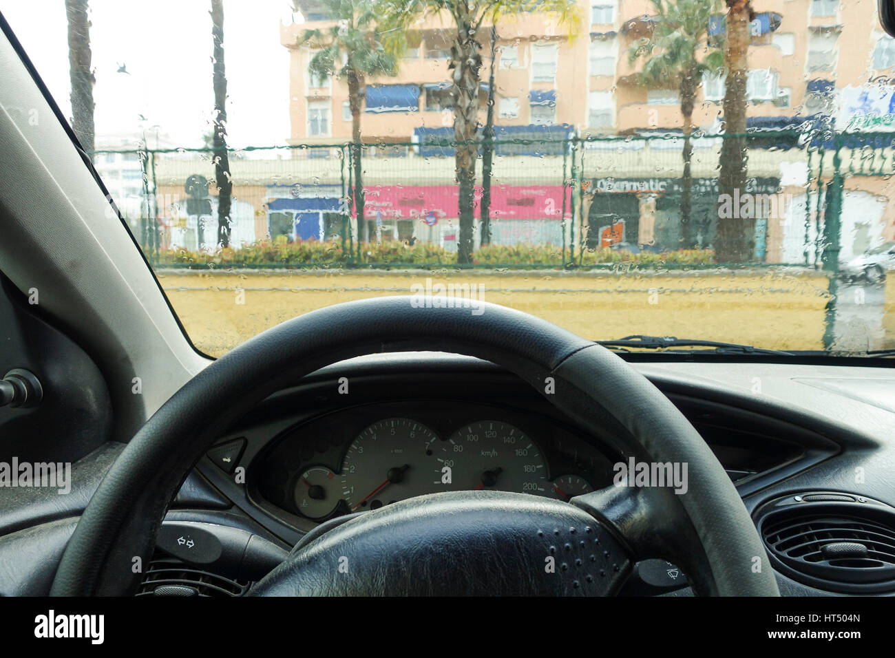view from inside a car rain on car front window interior with stock photo 135334213 alamy. Black Bedroom Furniture Sets. Home Design Ideas