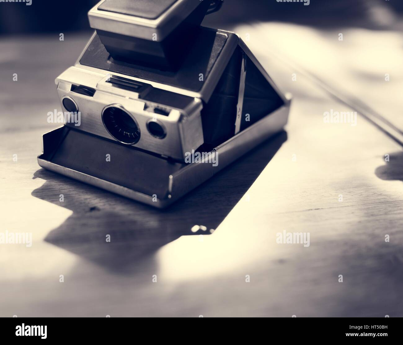 Vintage retro instant photo camera - Stock Image
