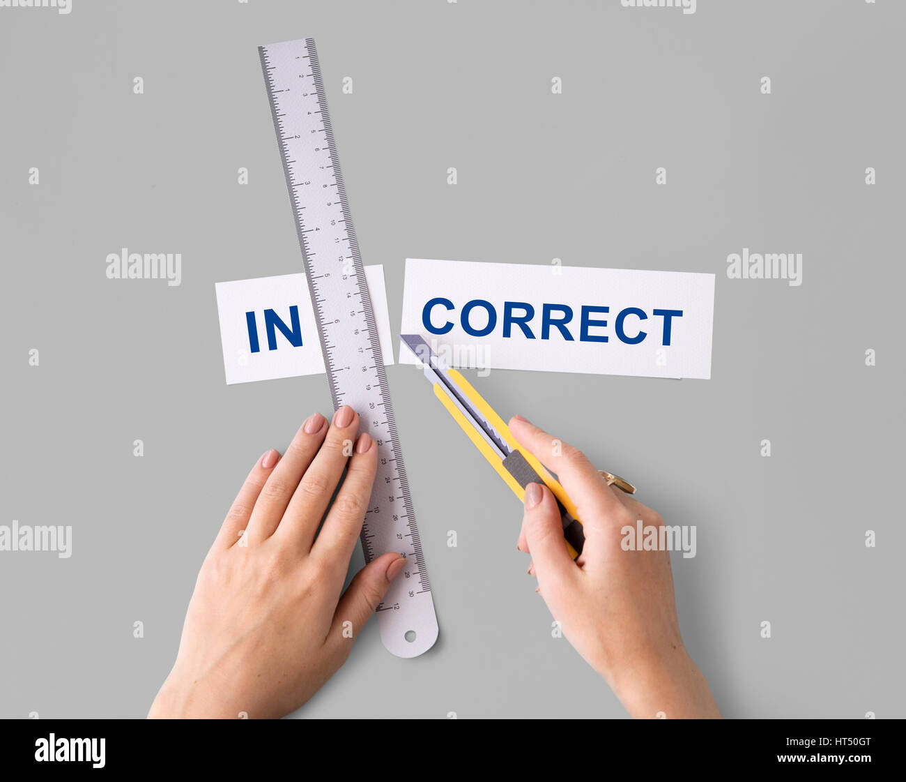 Incorrect Wrong Hand Cut Word Split Concept - Stock Image