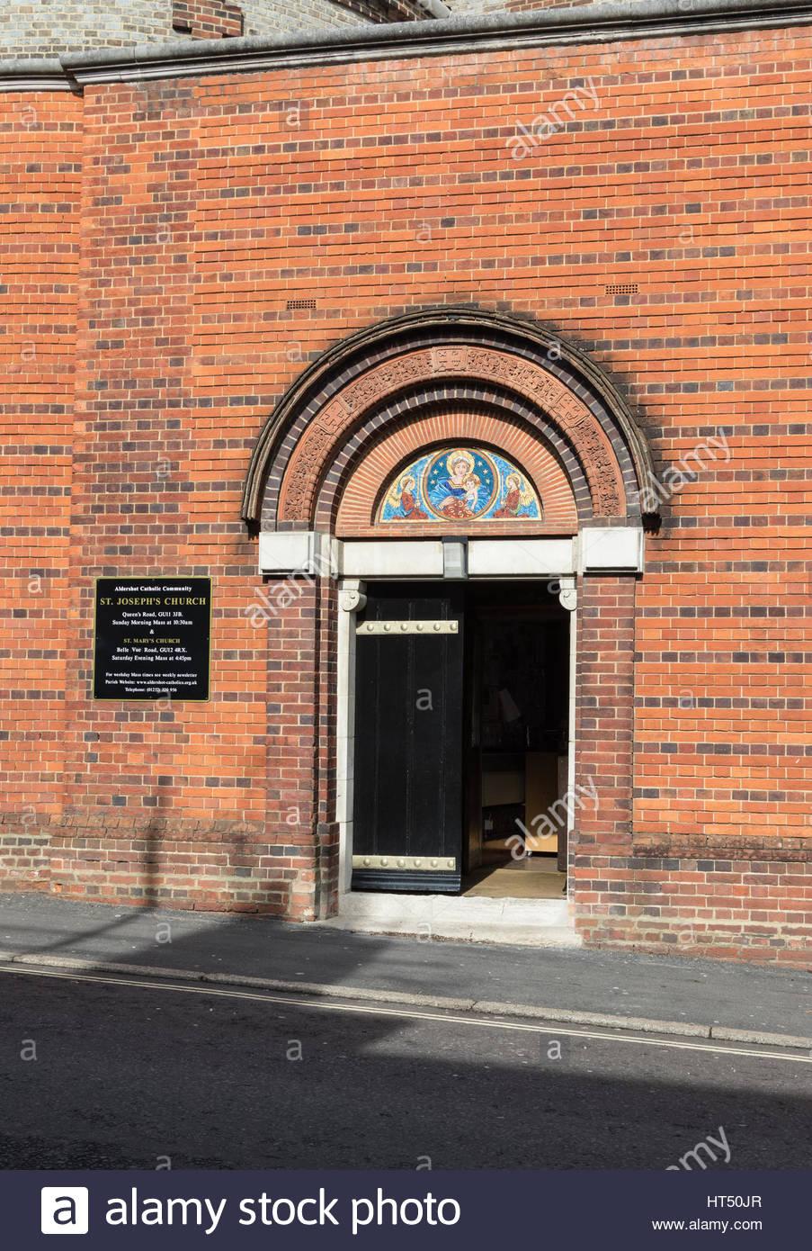 Exterior of St Joseph's Church, a Roman Catholic Parish church in Aldershot, Hampshire - Stock Image