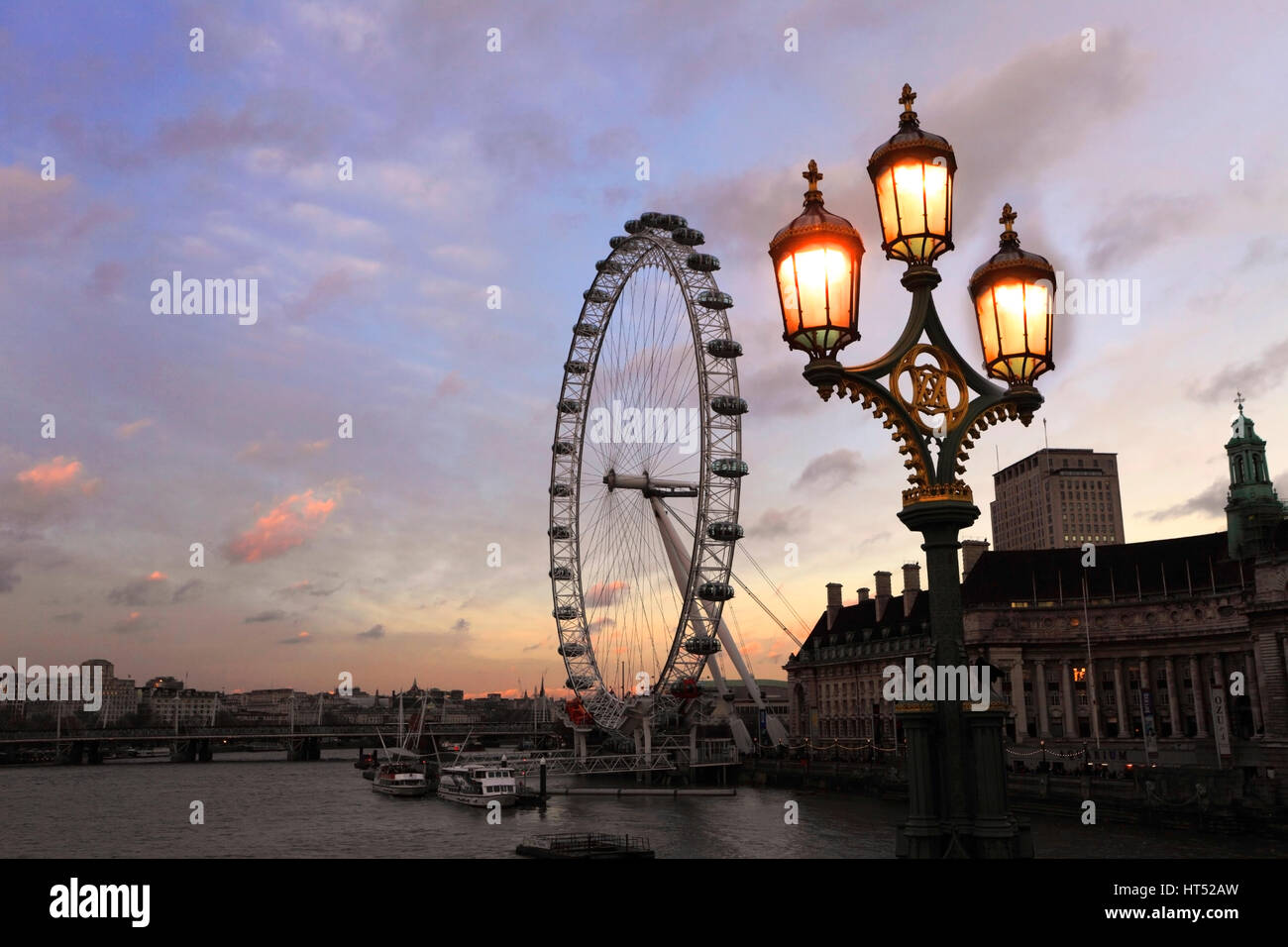 Summer sunset, London Eye or Millennium Observation Wheel opened in 1999, South Bank, river Thames, Lambeth, London - Stock Image