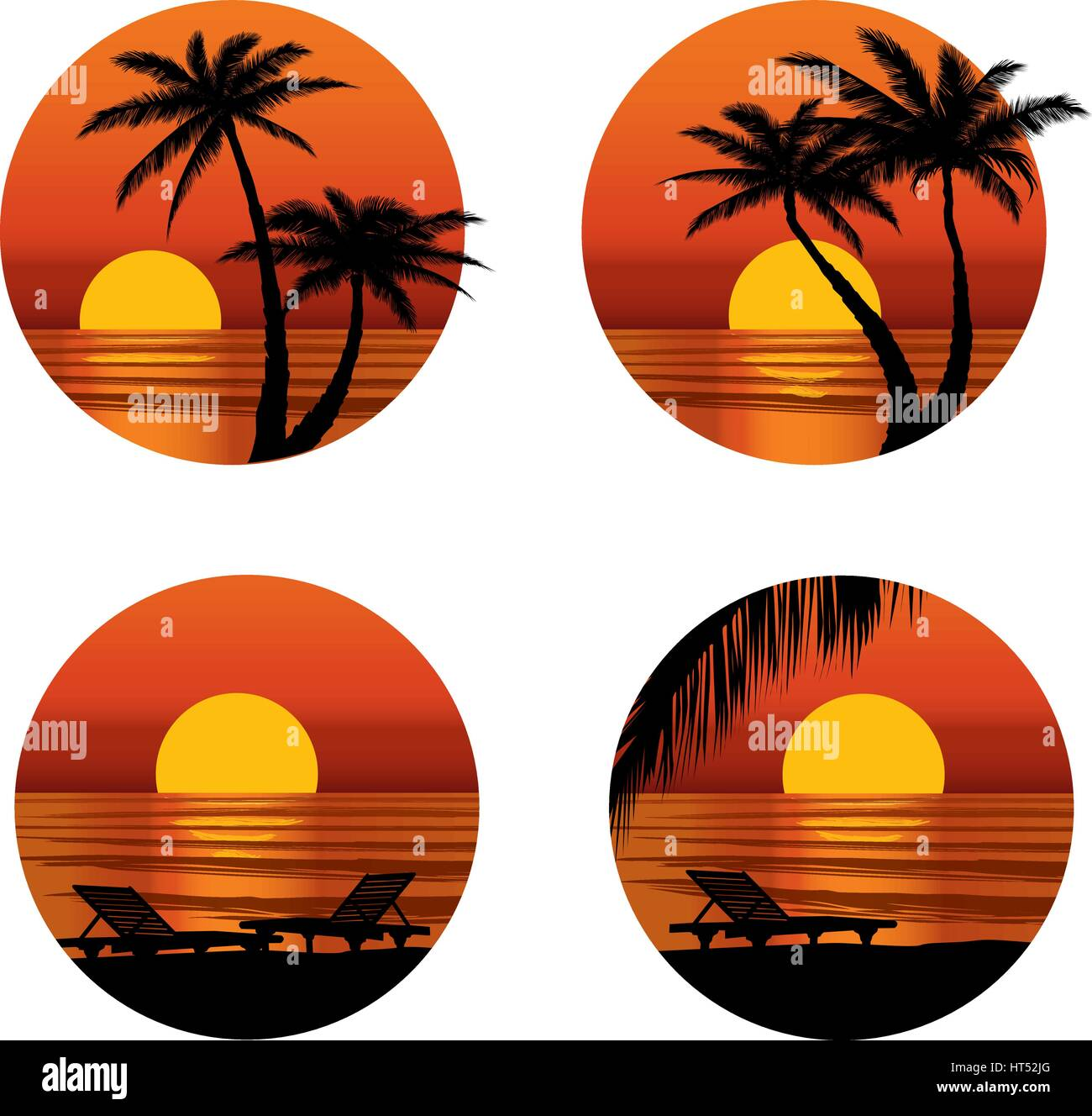 Summer holidays background. Seaside View Poster. Vector beach resort wallpaper set Stock Vector