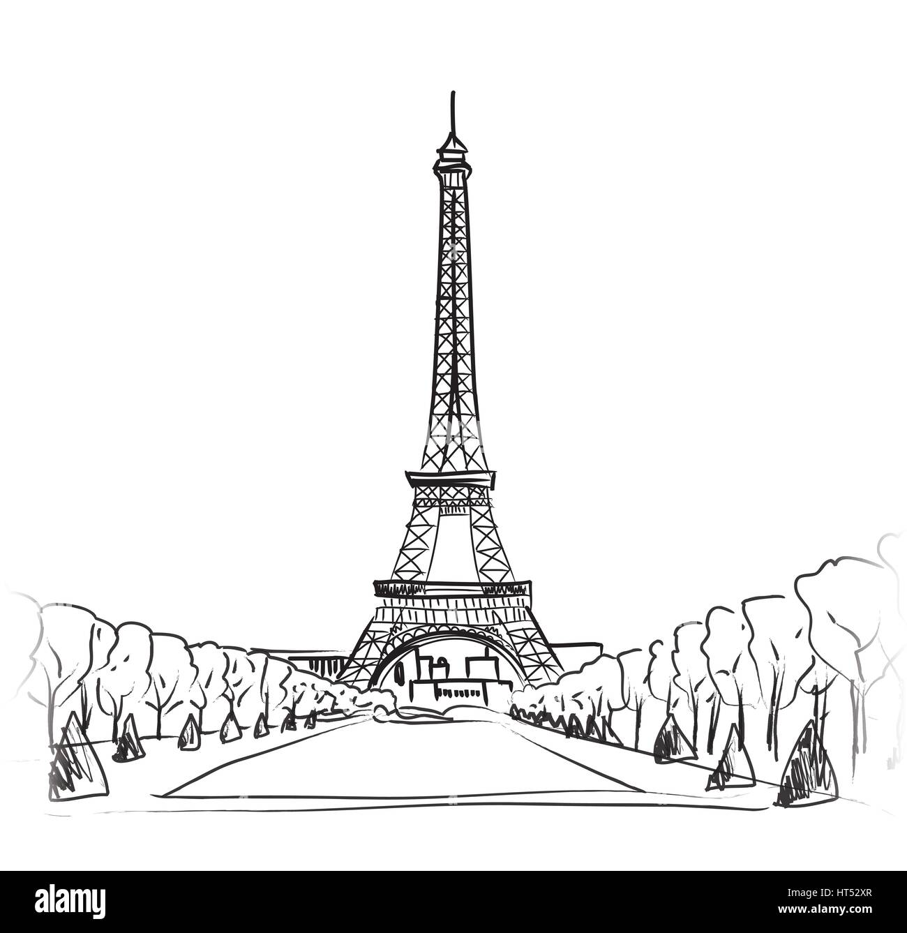 Paris sign. French famous landmark Eiffel tower. Travel France label. - Stock Image