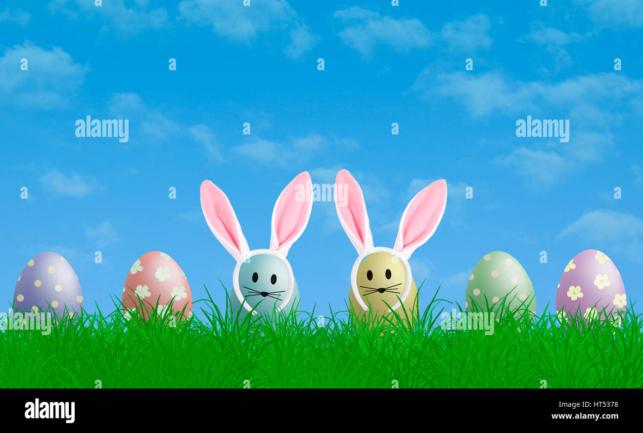 colorful pastel easter eggs with bunny ears in grass with blue sky background, copy space Stock Photo
