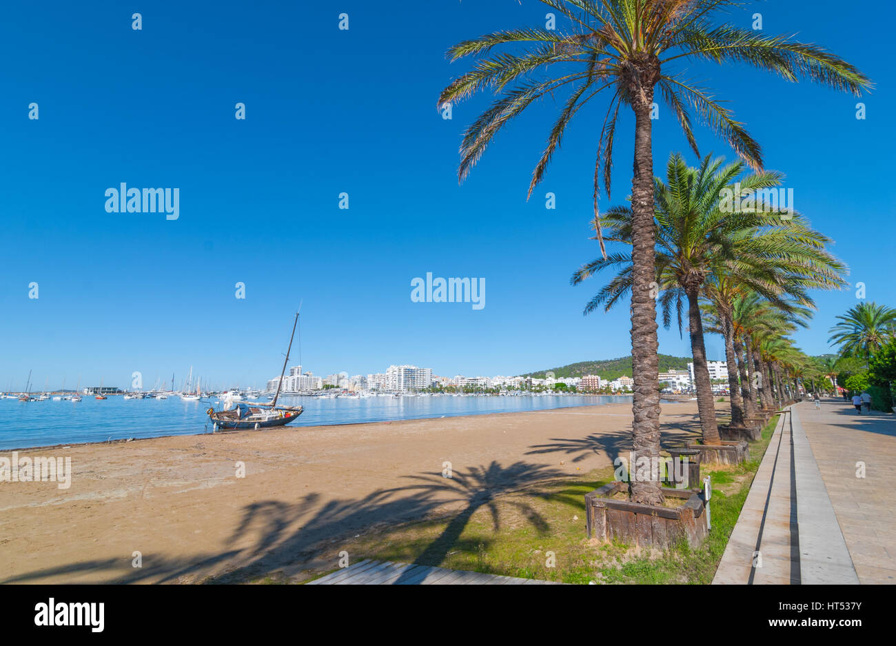Mid morning sun, along beach sees an abandoned sailboat.  Rows of palm trees line water's edge in Ibiza, St - Stock Image