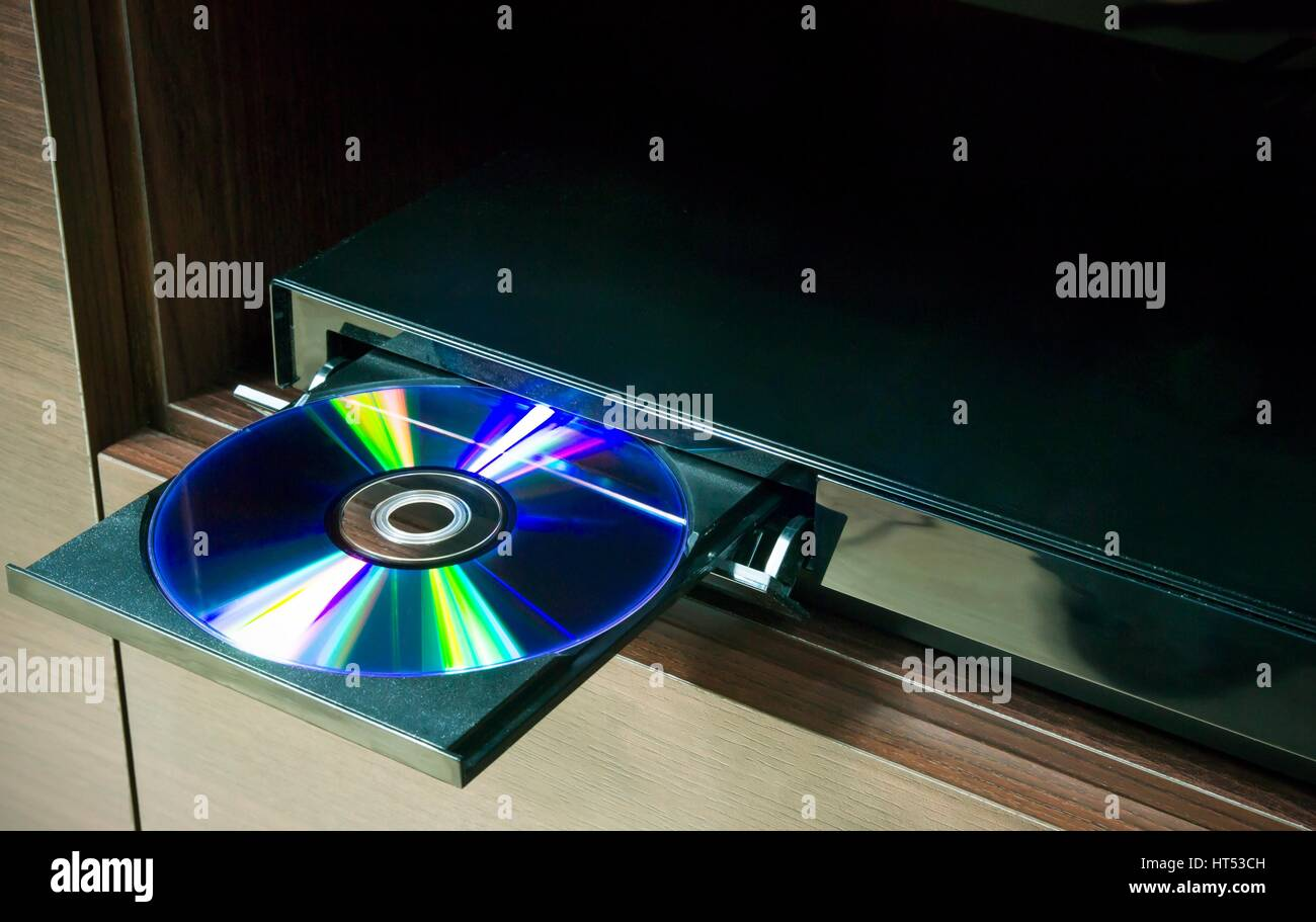 Blu-ray player with inserted disc - Stock Image