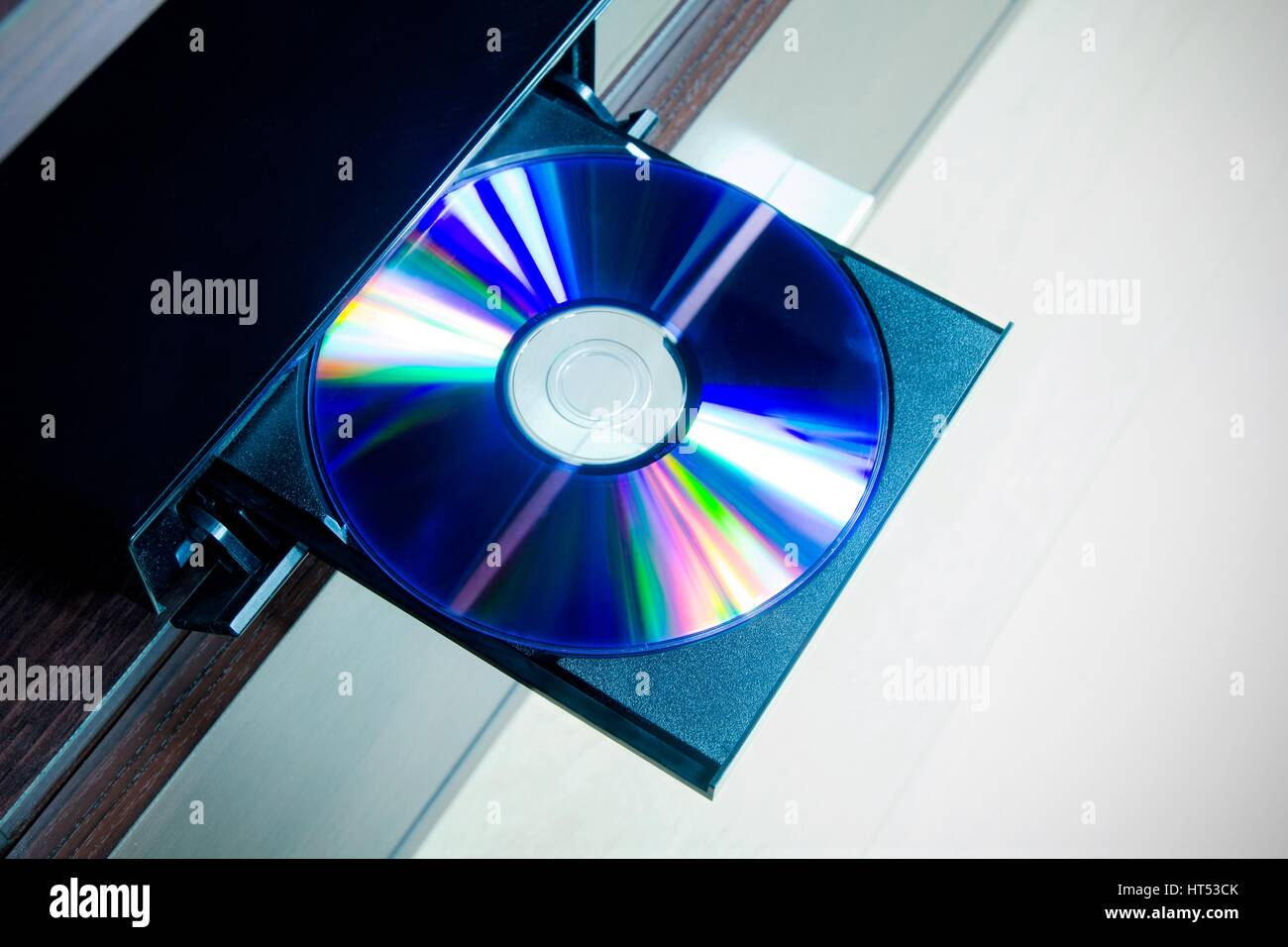 Disc insterted to DVD or CD player - Stock Image