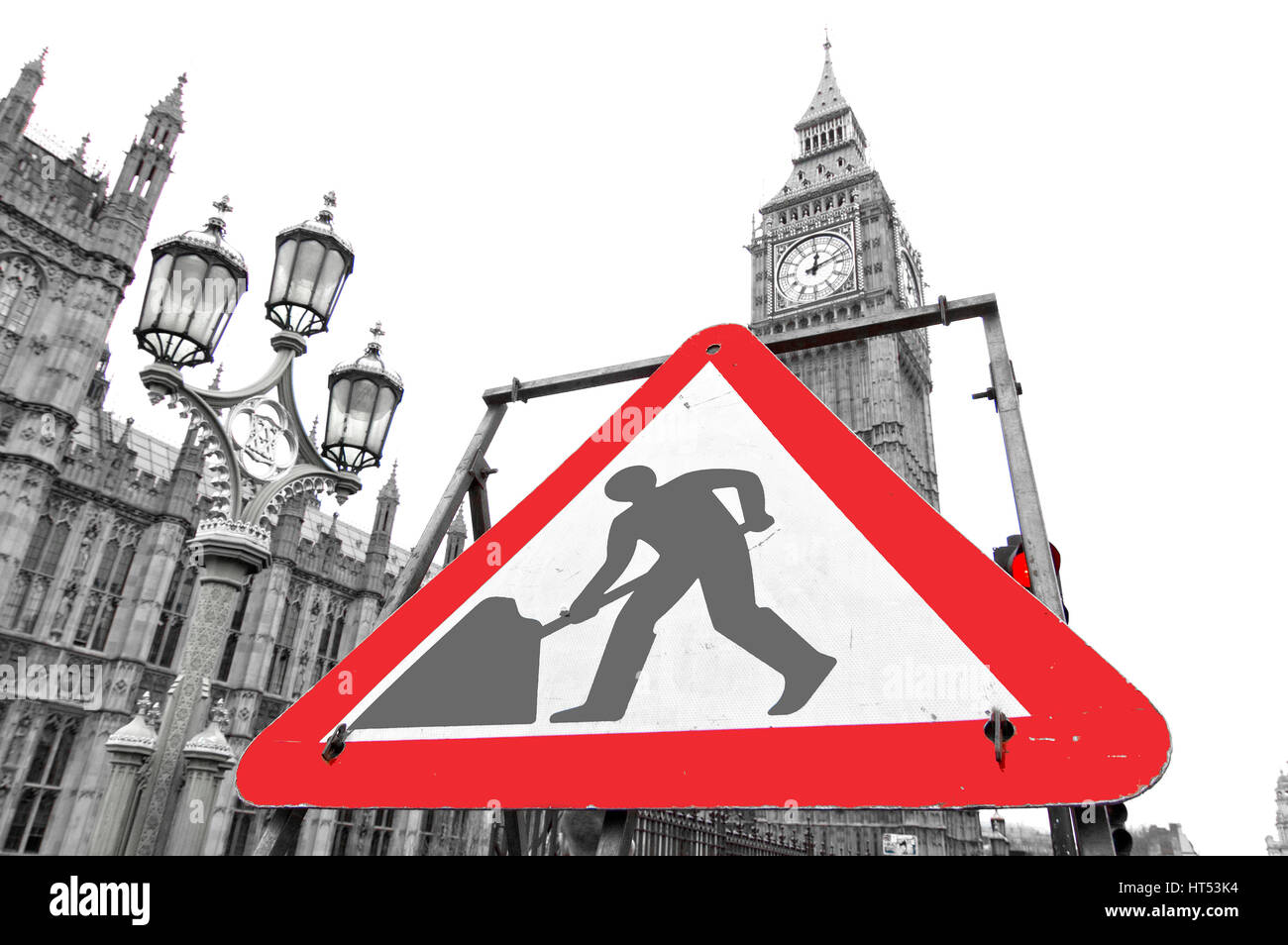London - March 14, 2015: Work in progress sign near British Parliament. This image can be used to illustrate political - Stock Image