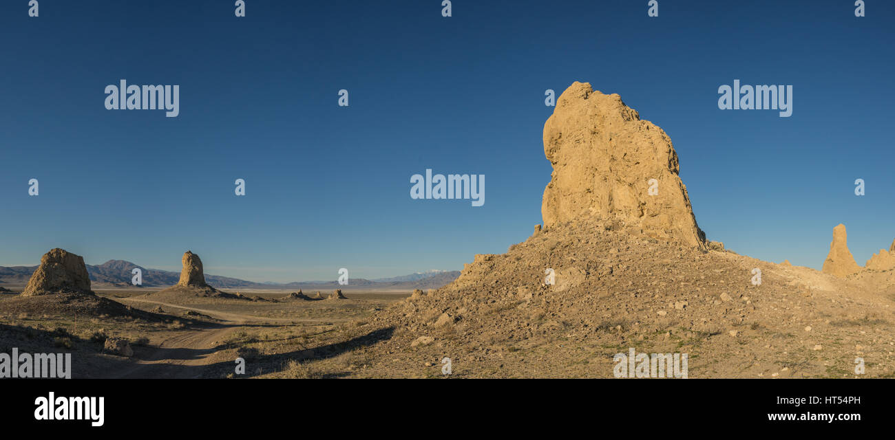 Massive rock cathedrals stand in the vast desert wilderness of southern California's Mojave. - Stock Image