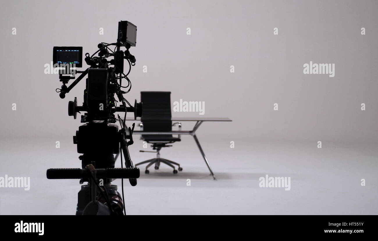 TV commercial recording and movie camera set and camera man in big ...