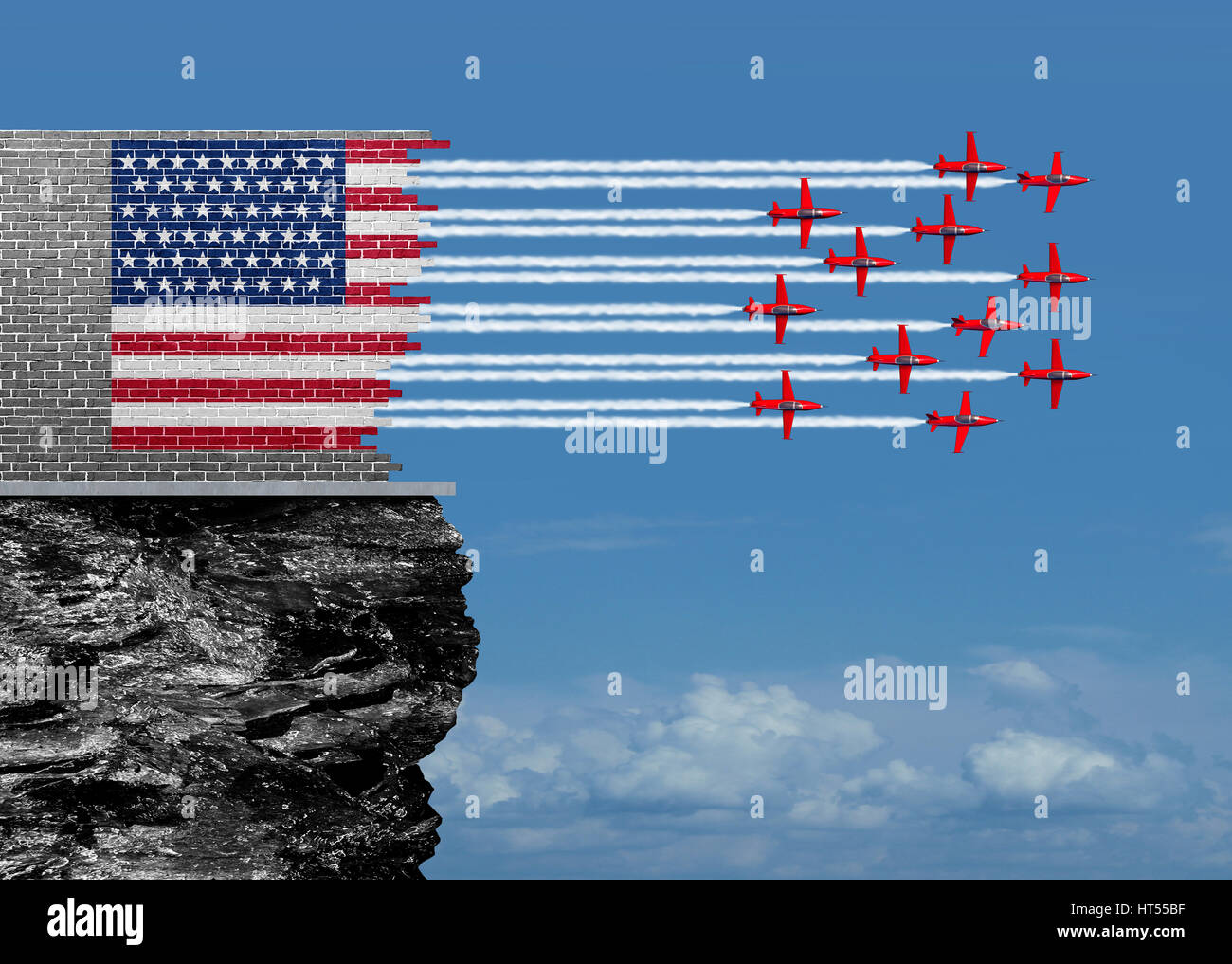 American renewal and US economic revival concept as a broken brick wall with jet airplanes completing the USA flag - Stock Image