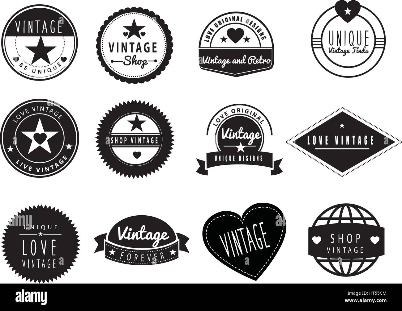 SET OF BLACK AND WHITE GRAPHIC DESIGN LOGO IDEAS For A Vintage Or Retro Shop Store