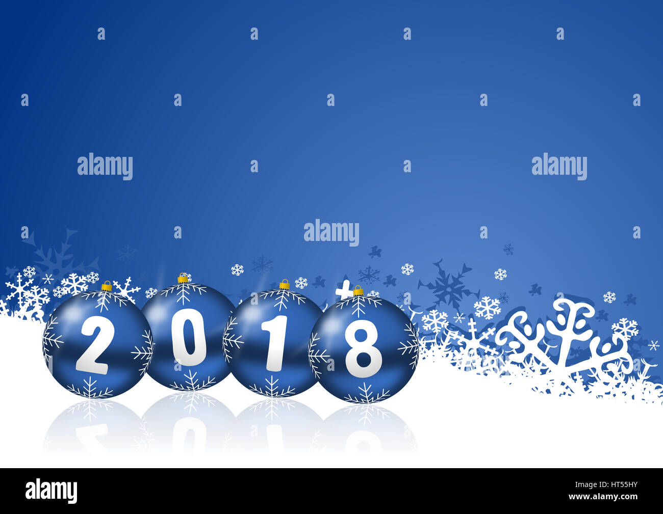 2018 happy new years illustration with christmas balls and snowflakes on blue background
