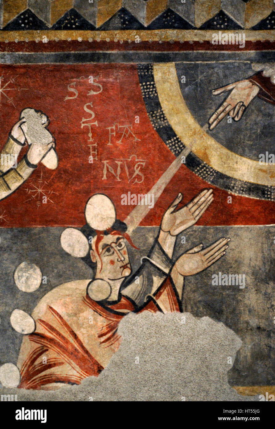 Master of Boi. Stoning of Saint Stephen of Boi, ca.1100. Detail. Romanesque. Fresco transferred to canvas. From - Stock Image