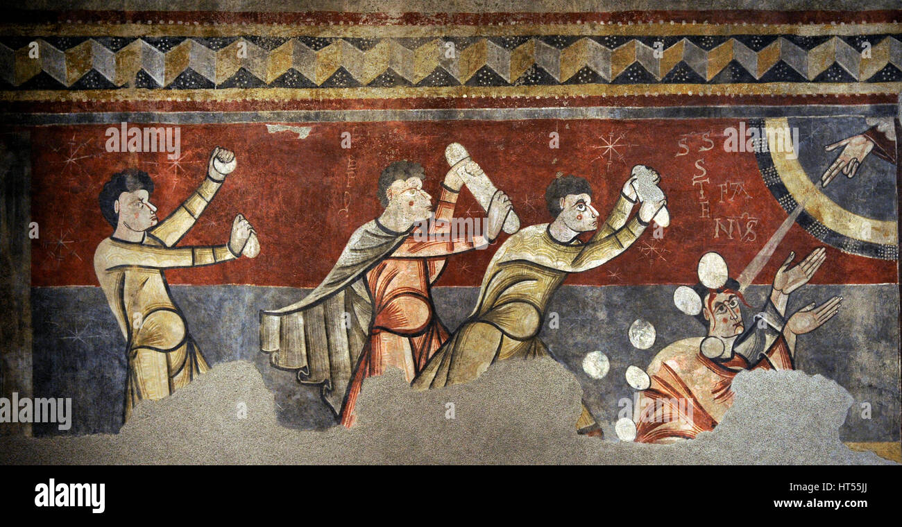 Master of Boi. Stoning of Saint Stephen of Boi, ca.1100. Romanesque. Fresco transferred to canvas. From the Parish - Stock Image