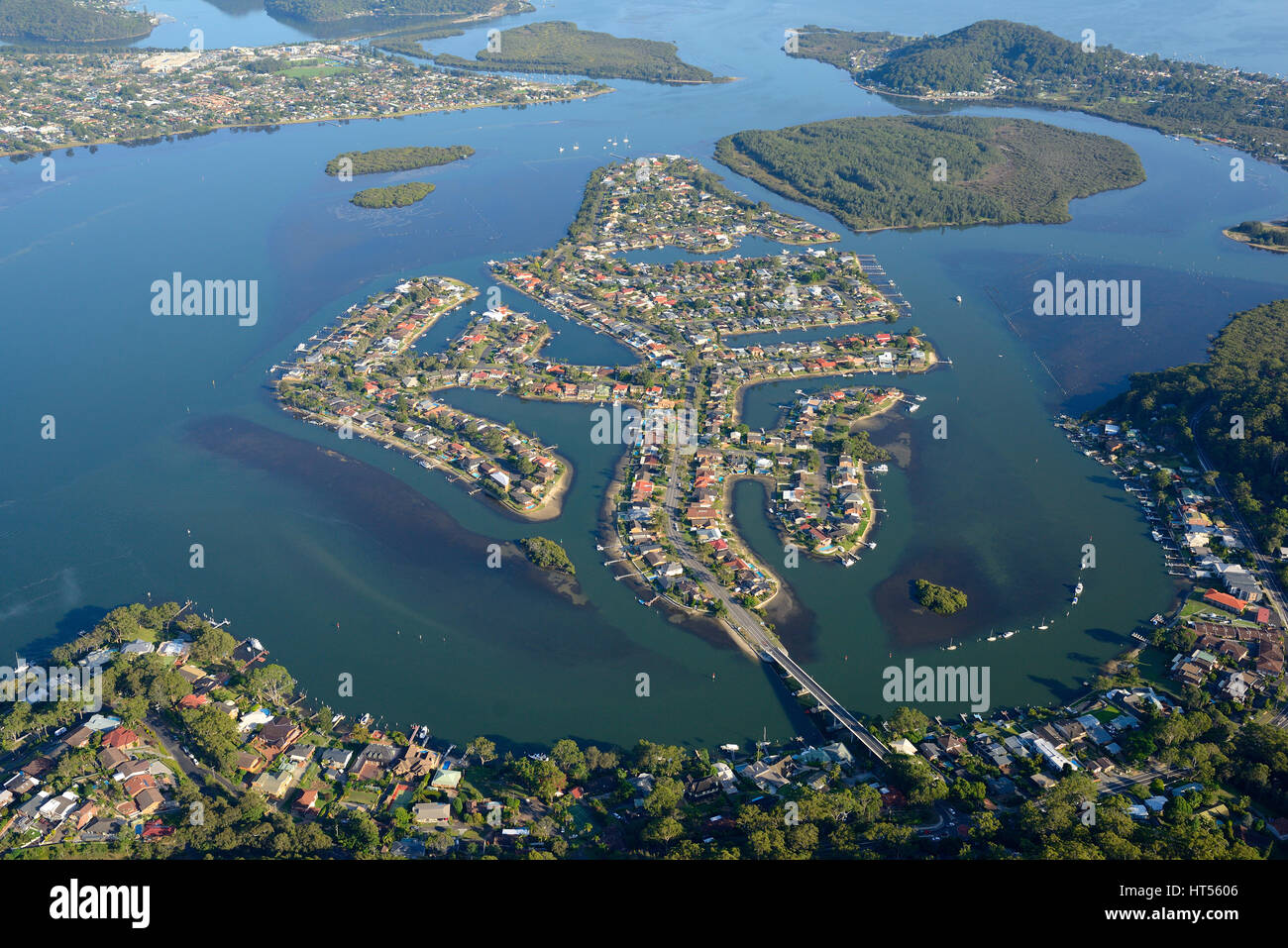 CANAL ESTATE OF ST HUBERTS ISLAND (aerial view). New South Wales, Australia. - Stock Image