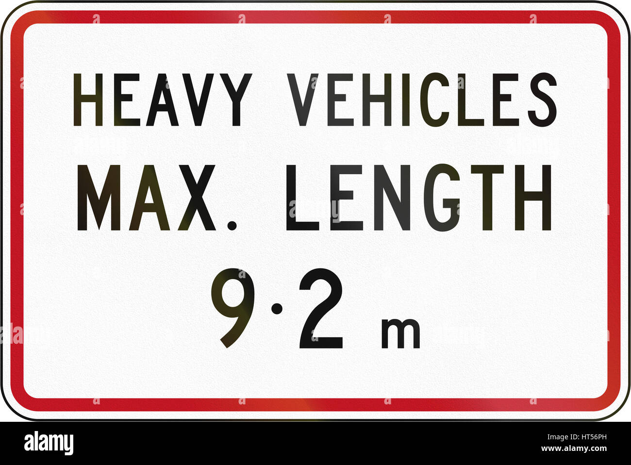 New Zealand road sign - Length limit for heady vehicles. - Stock Image