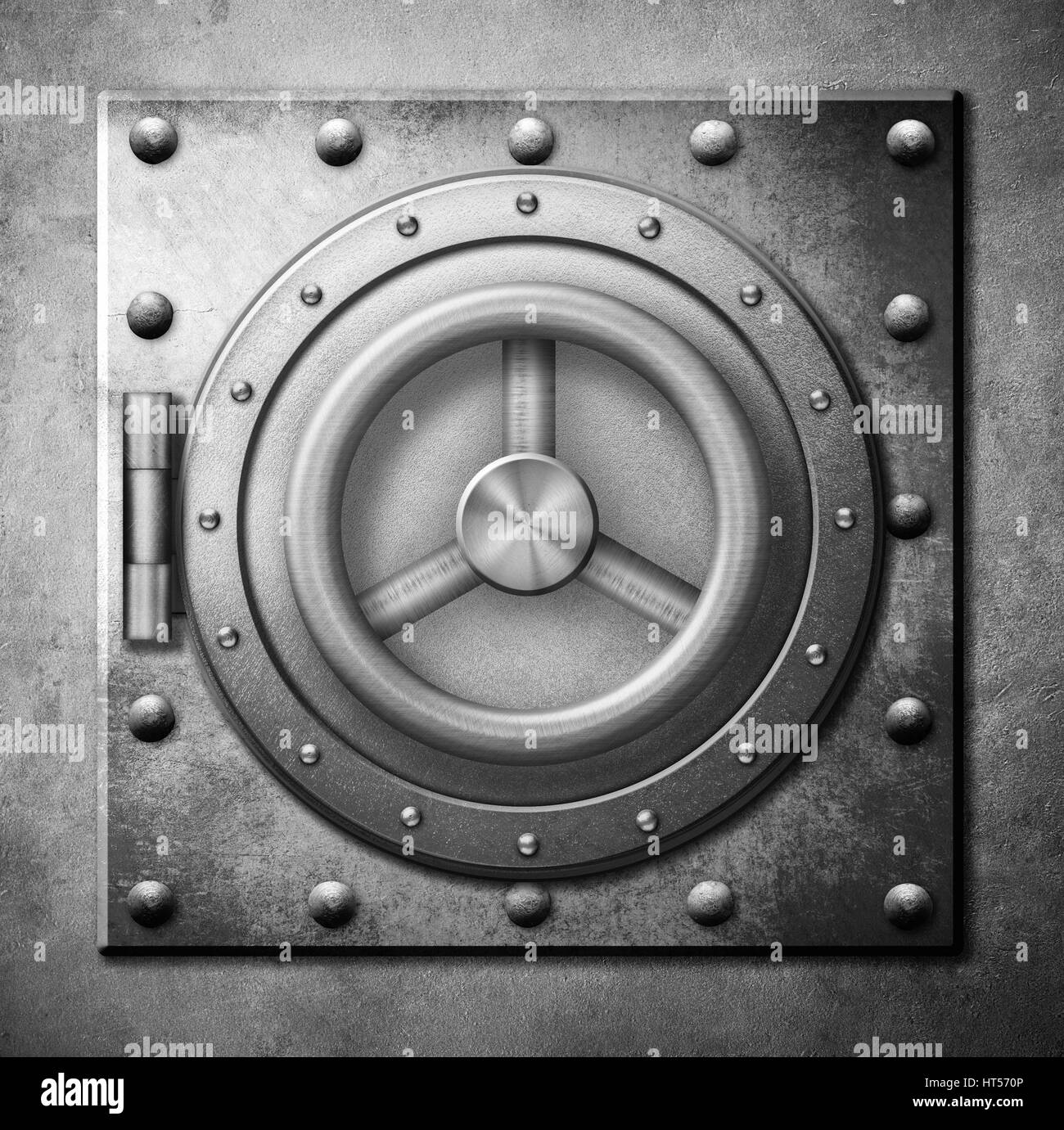 metal safe door 3d illustration or icon - Stock Image