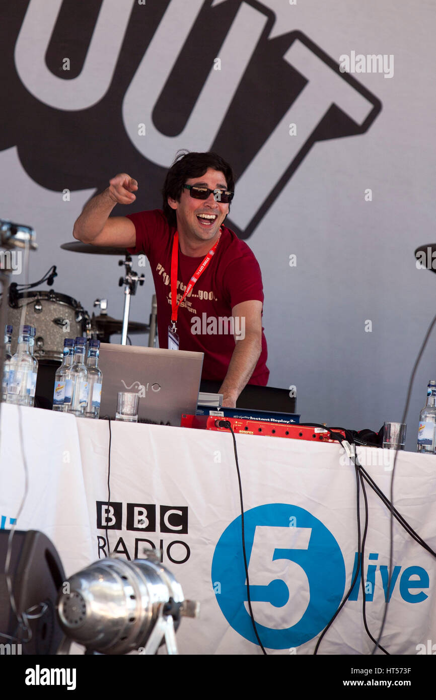 Radio 5 live Fighting Talk 's Big Day Out at the Brittania Stadium , Stoke . Presenter Colin Murray - Stock Image