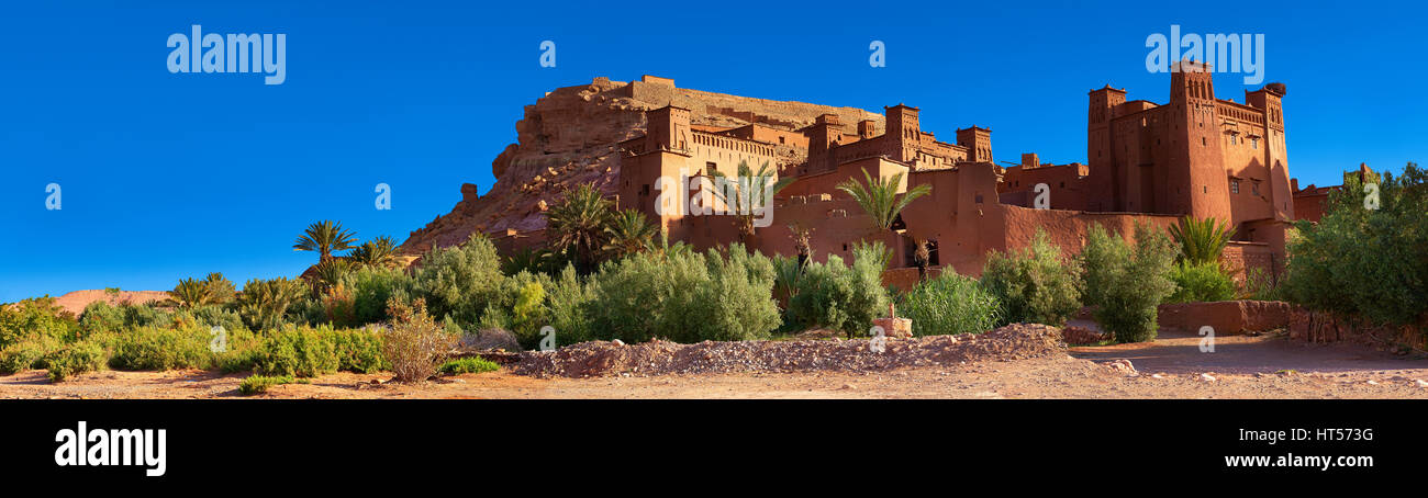 Adobe buildings of the Berber Ksar or fortified village of Ait Benhaddou, Sous-Massa-Dra Morocco - Stock Image
