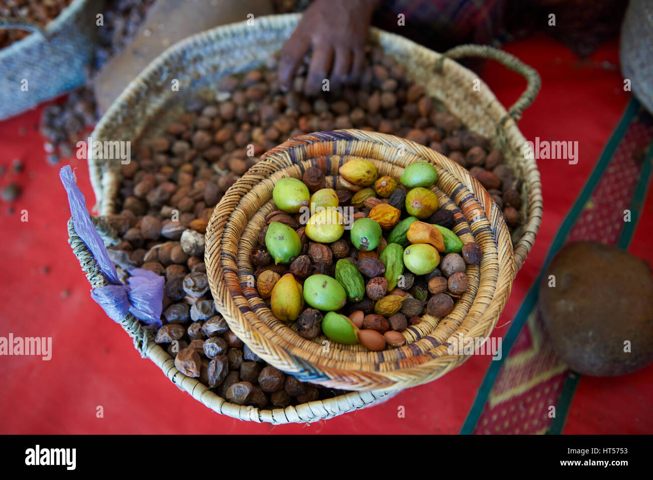 Argan nuts in baskets at the Cooperative Marjana, Ounara, Essouira, Morocco - Stock Image