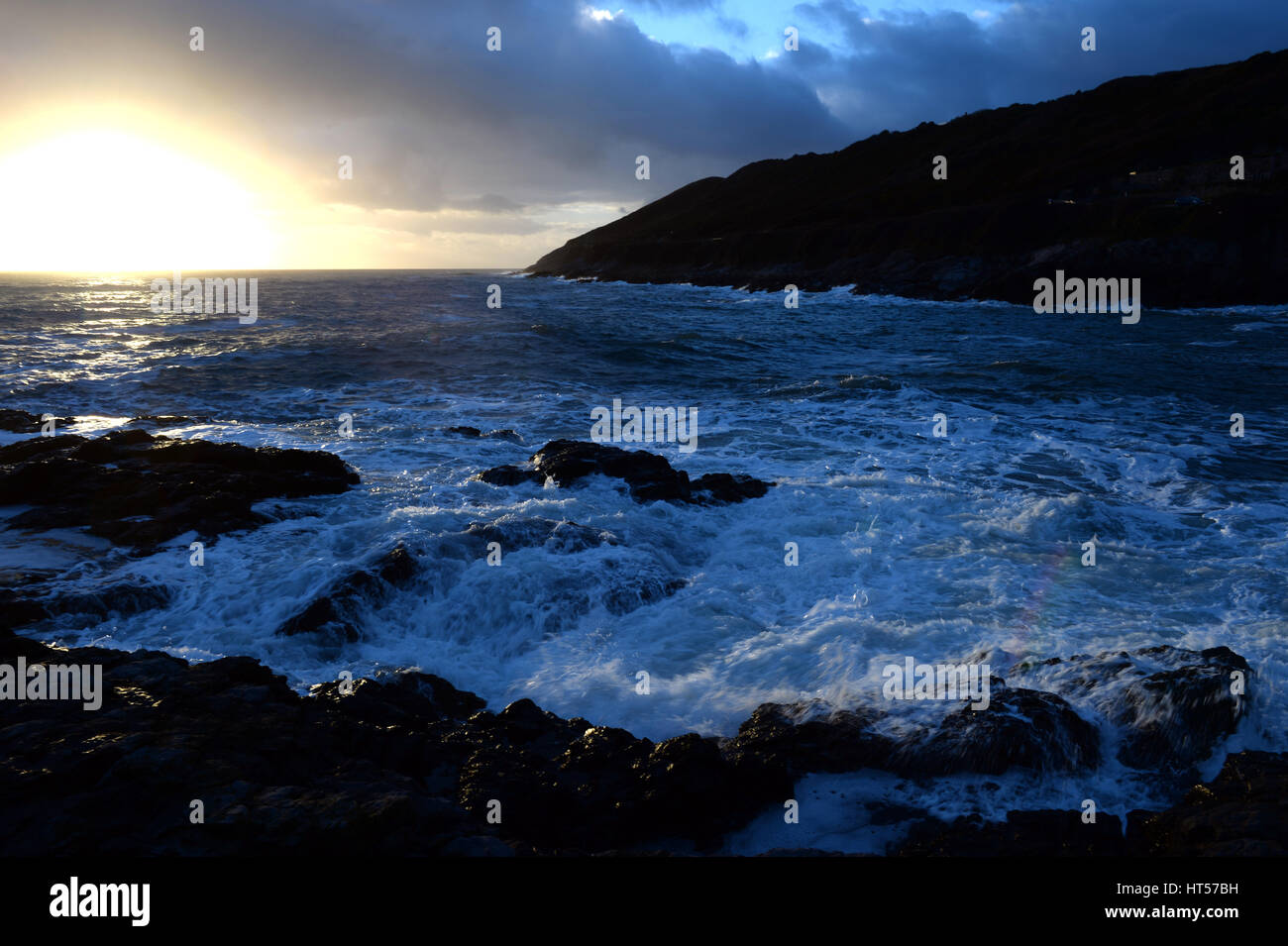 Winter sunshine over the bay on Gower, UK Stock Photo