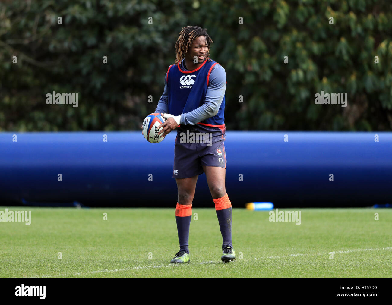 England's Marland Yarde during the training session at Pennyhill Park, Bagshot. - Stock Image
