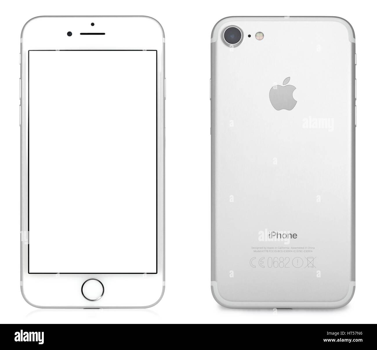Koszalin, Poland – February 09, 2017: silver iPhone 7 with