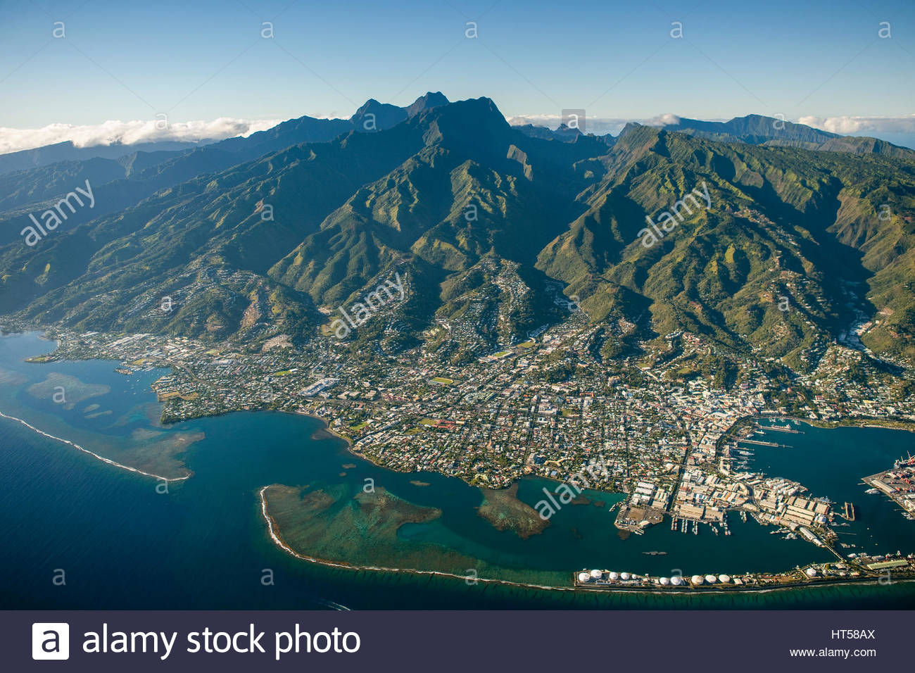 Tropical Islands of French Polynesia. Capital City Papeete on Tahiti - Stock Image