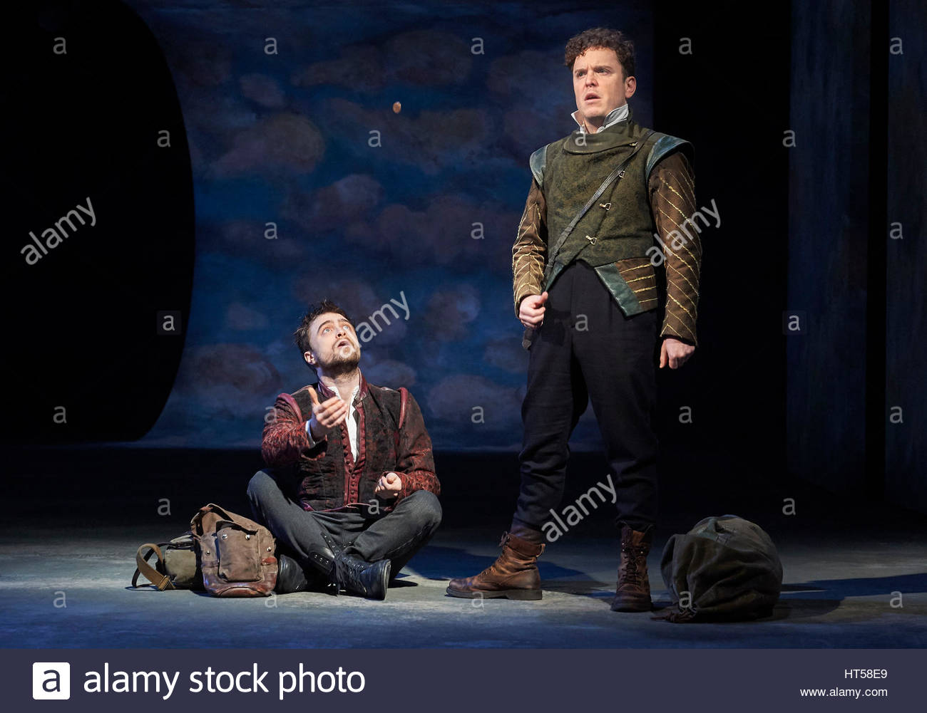 Rosencrantz and Guildenstern by Tom Stoppard, directed by David Leveaux. With Daniel Radcliffe as Rosencrantz, Joshua - Stock Image