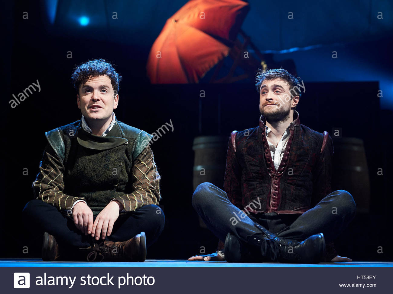 Rosencrantz and Guildenstern by Tom Stoppard, directed by David Leveaux. With Joshua McGuire as Guildenstern, Daniel - Stock Image