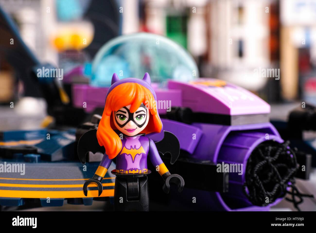 Tambov, Russian Federation - March 04, 2017 Lego DC Super Hero Girls world. Batgirl mini-doll figure against the - Stock Image