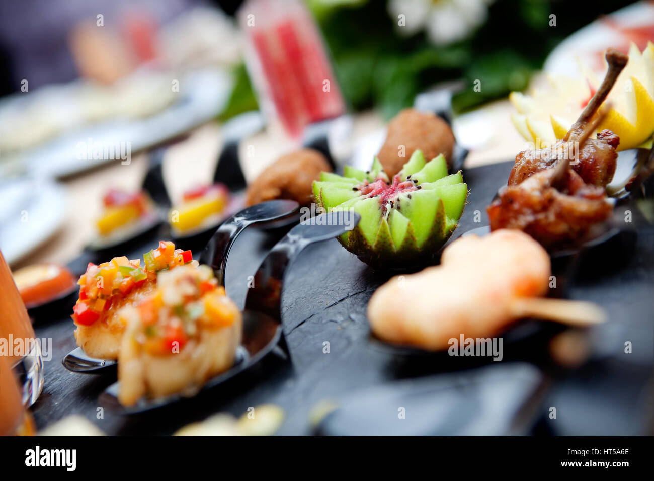 Feed and food. Outdoor catering. Food events and celebrations - Stock Image