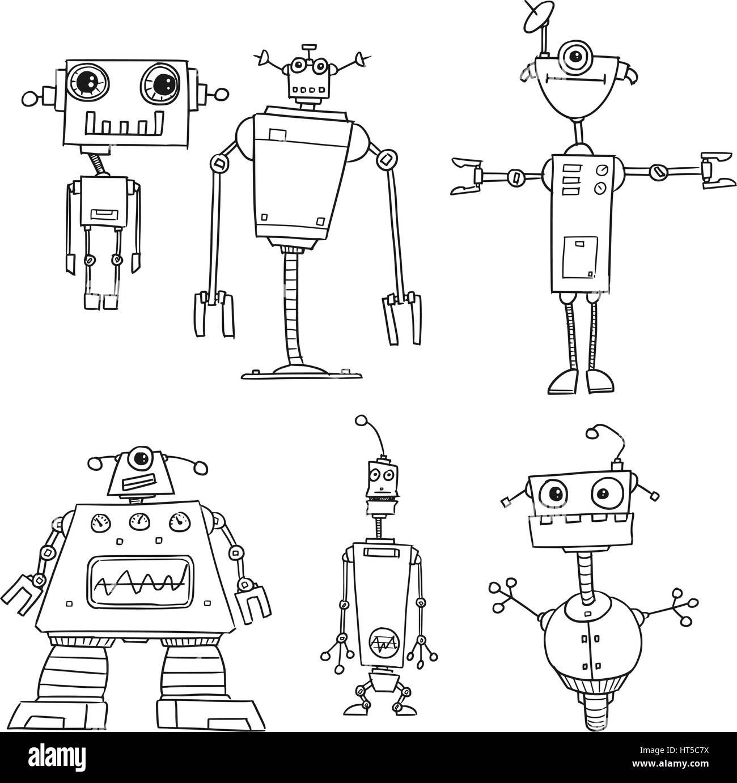 Set03 of cartoon vector doodle robots Stock Vector