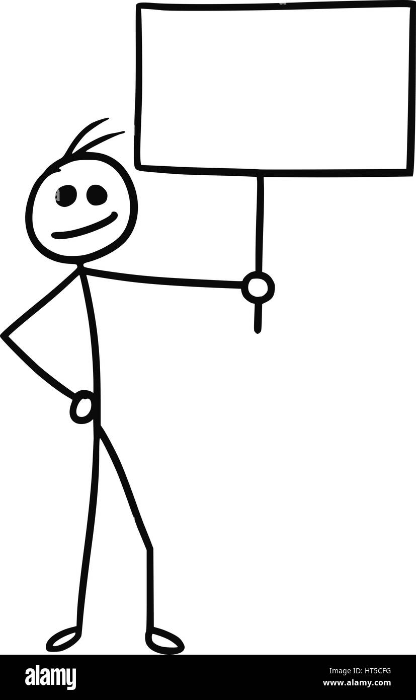 Cartoon vector doodle stickman holding empty sign for your text - Stock Image