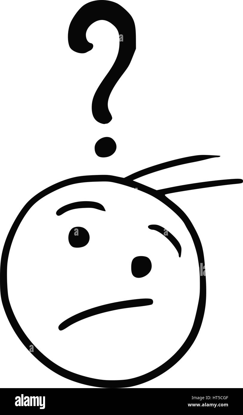 Cartoon Vector Doodle Stickman Male Face With Question Mark Above