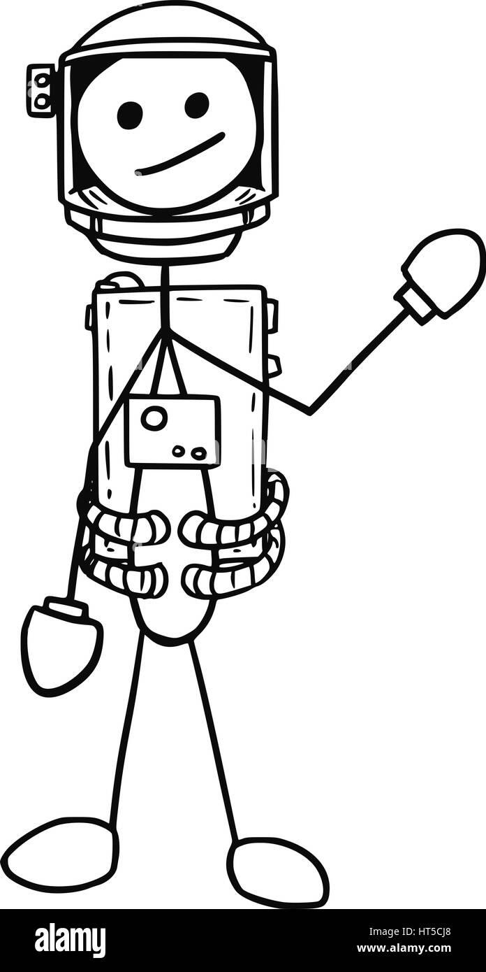 Cartoon vector stickman astronaut in the spacesuit - Stock Image
