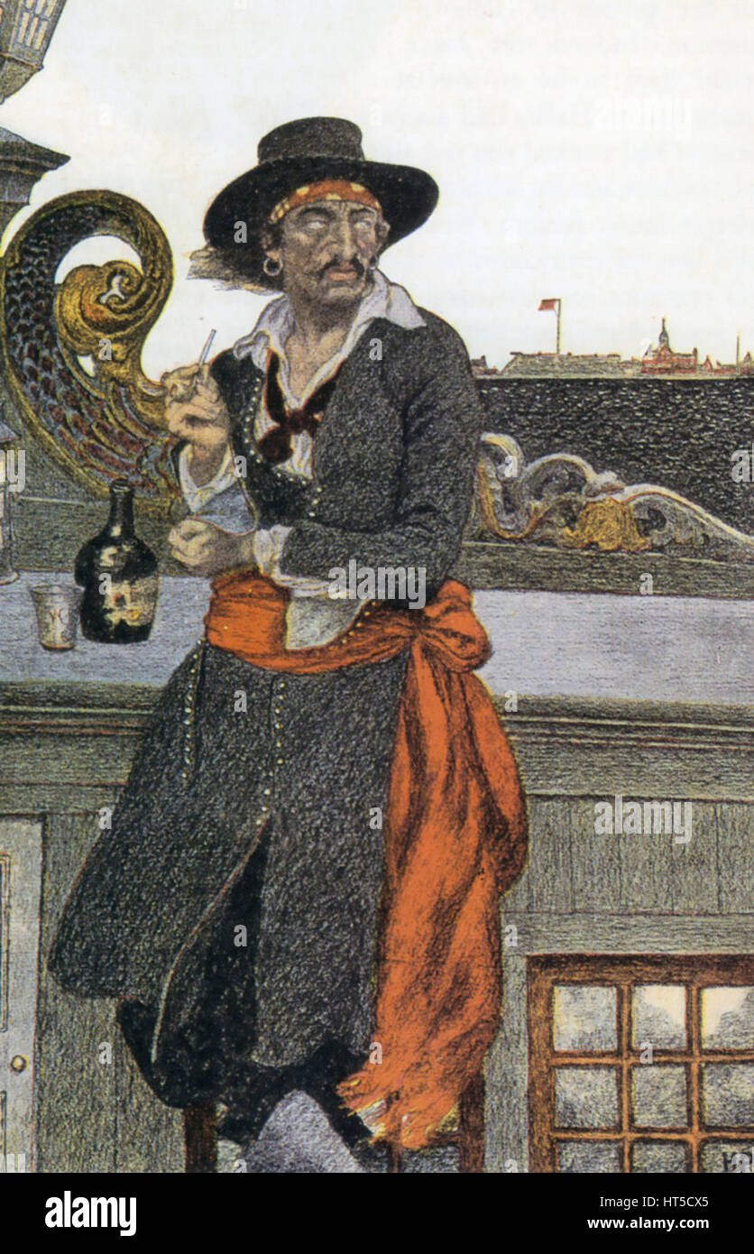 CAPTAIN WILLIAM KIDD (c 1654-1701) Scottish sailor and pirate with his ship the Adventure Galley moored in New York - Stock Image