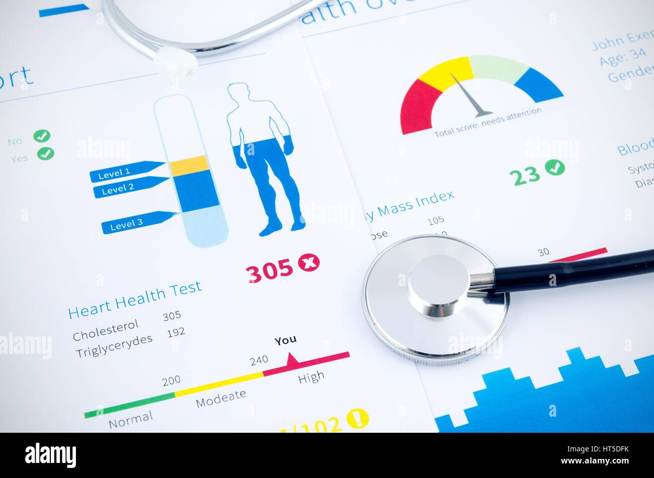 Health condition score report. Stethoscope on medical background. Stock Photo