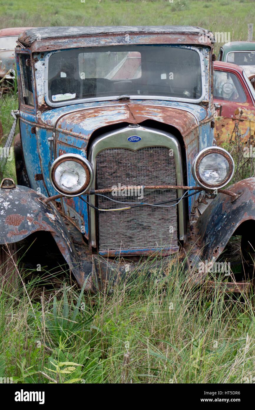 Old classic cars scrapyard in Rocha, Uruguay Stock Photo: 135344922 ...