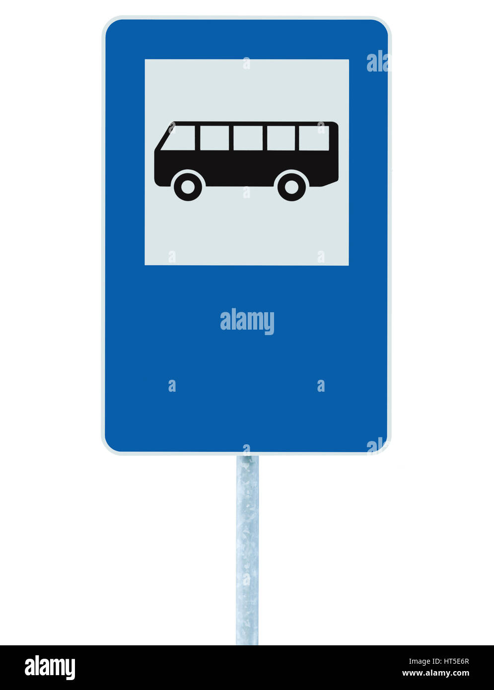Bus Stop Sign on post pole, traffic road roadsign, blue isolated signage copyspace Stock Photo