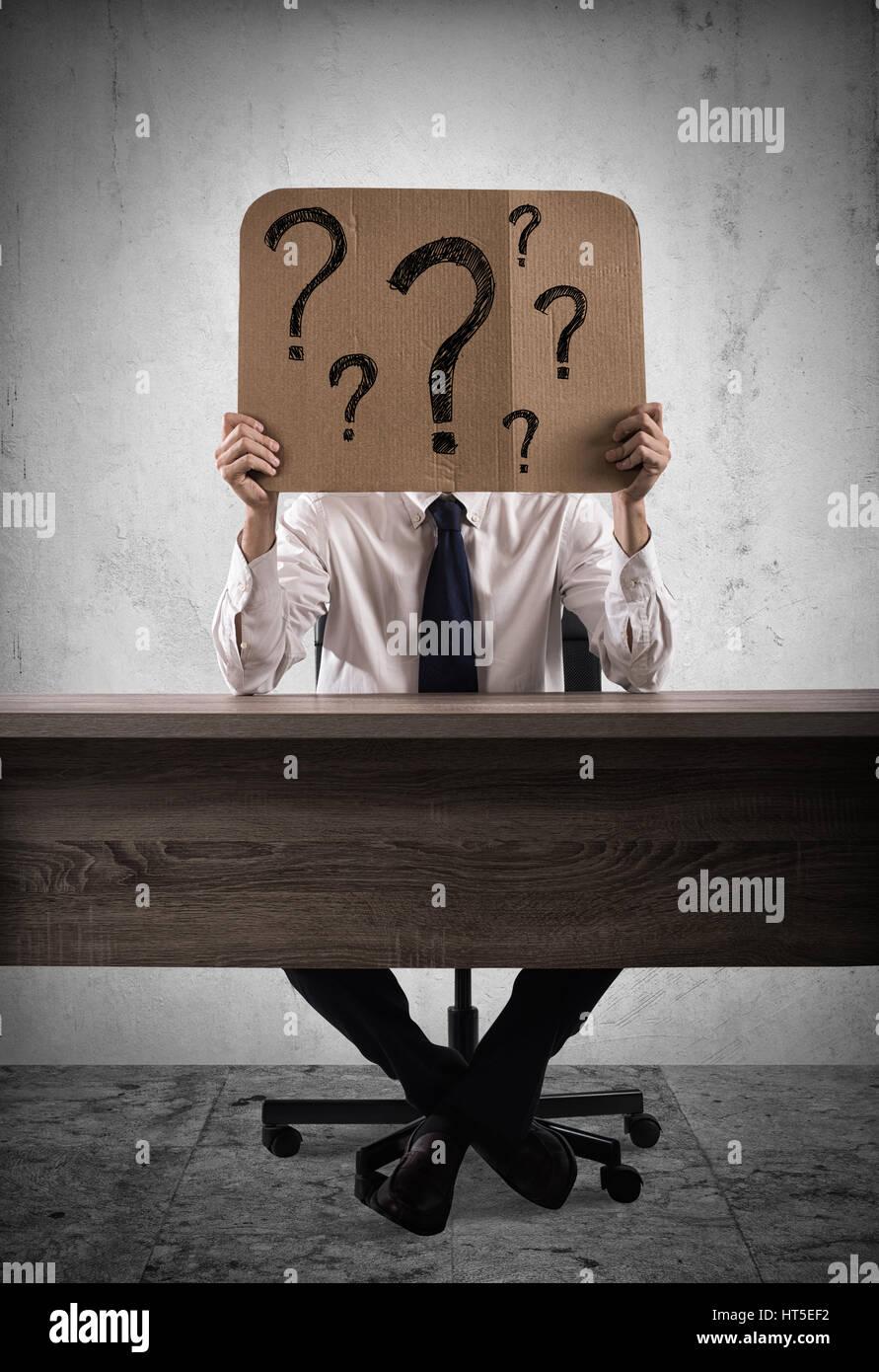 Interrogative businessman - Stock Image