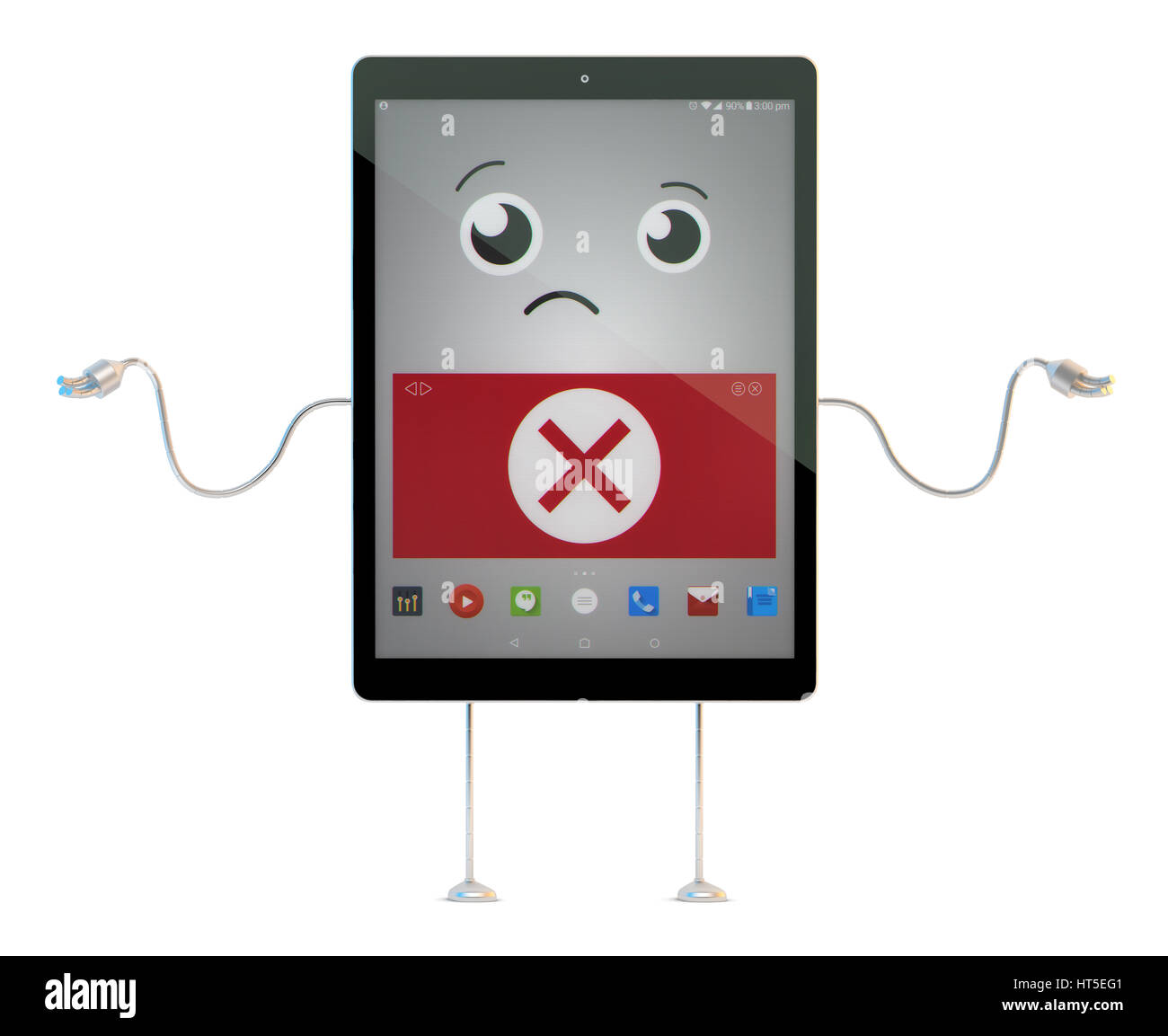 Worried Cartoon Tablet character with Application Error sign. 3D illustration. Contains clipping path. - Stock Image