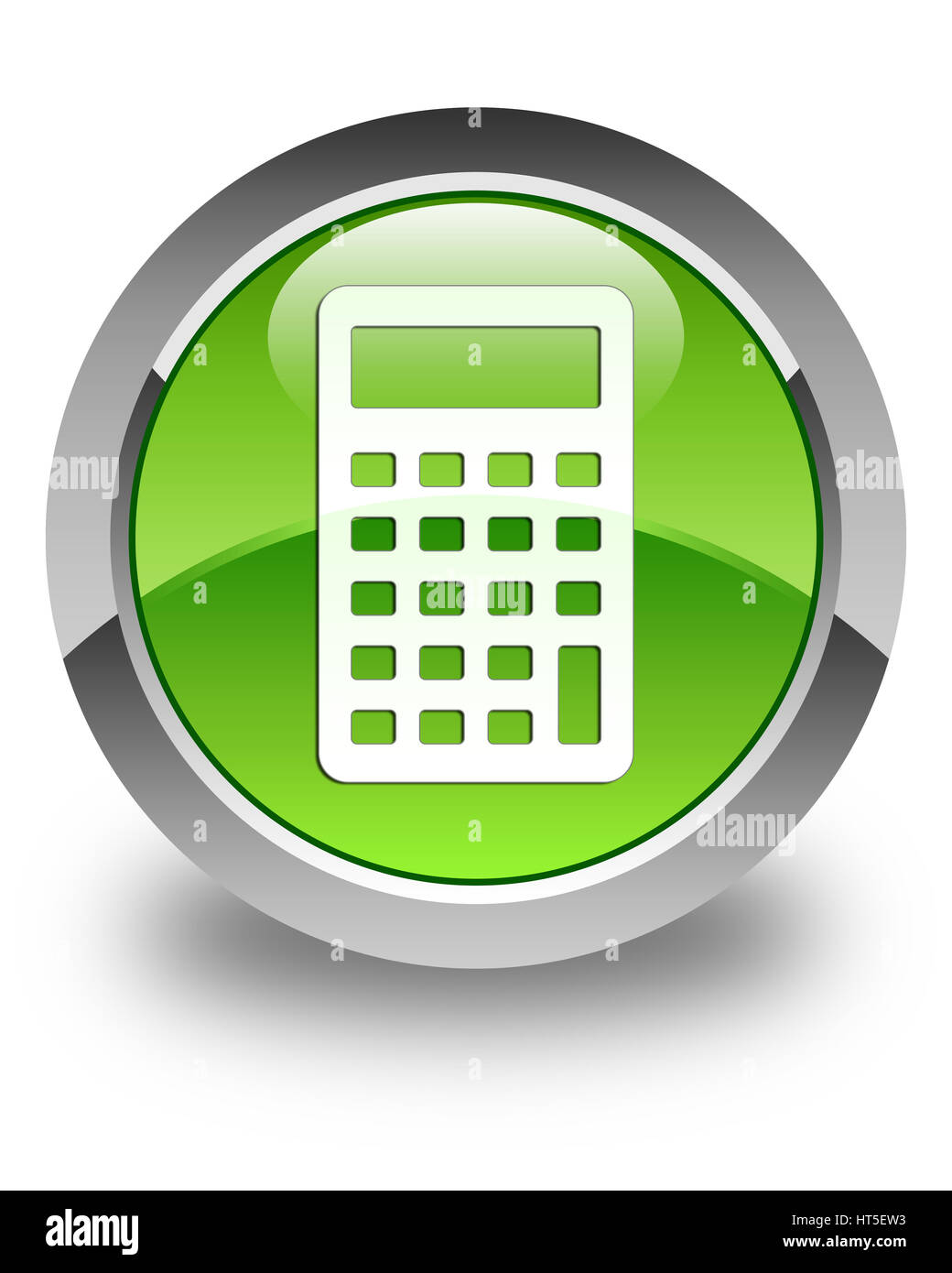 Calculator icon isolated on glossy green round button abstract illustration Stock Photo