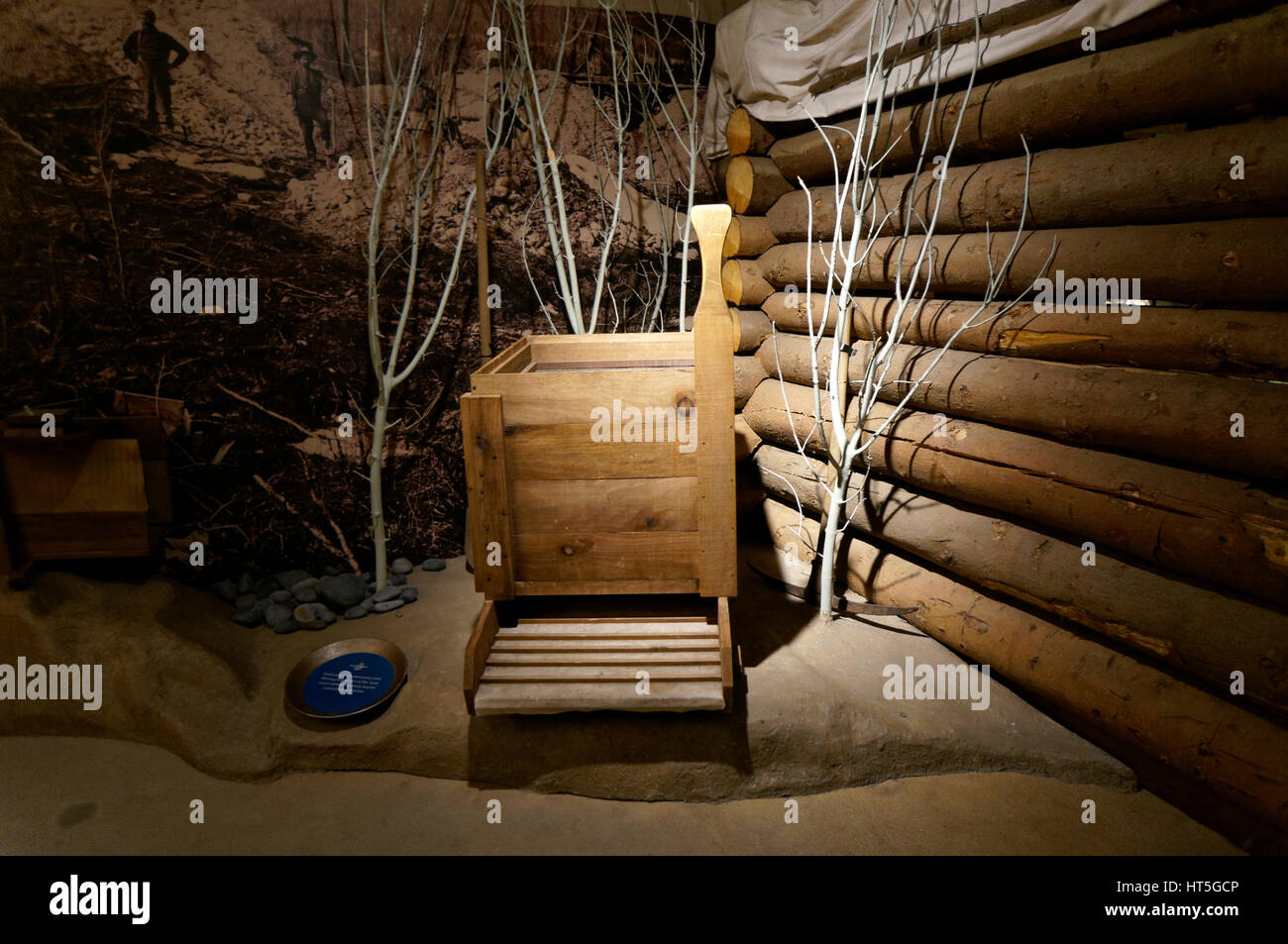 Gold panning equipment display in the Klondike Gold Rush National Historical Park Visitor Center, Pioneer Square - Stock Image